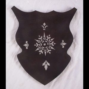Dark double sword wall hanger shield style