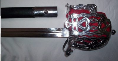 Scottish Highland Basket Sword sword has an overall Length of 40 inches and has a handle length of 7 inches with a solid metal basket