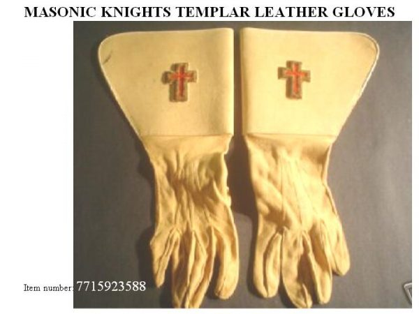 MASONIC KNIGHTS TEMPLAR LEATHER GLOVES